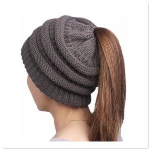 Gray Winter Knitted Ponytail Beanie